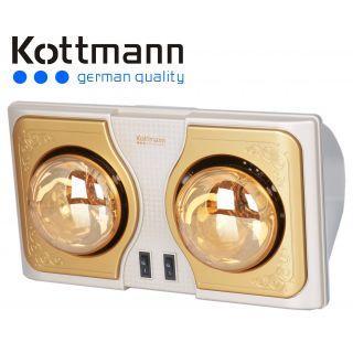Đèn sưởi nhà tắm Hans Kottmann 2 bóng vàng K2B-H