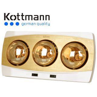 Đèn sưởi nhà tắm Hans Kottmann 3 bóng vàng K3B-H
