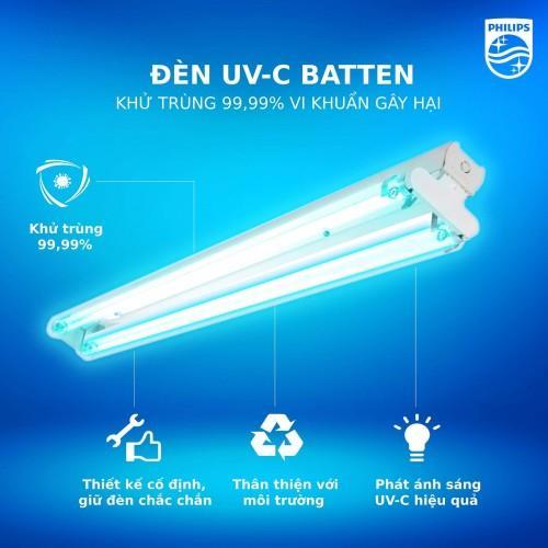 Bộ máng đèn tia cực tím khử trùng diệt khuẩn Philips UV-C Batten 2xTUV 36W SLV/6